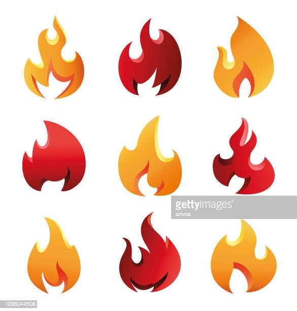 ilustraciones, imágenes clip art, dibujos animados e iconos de stock de fuego llamas juego - llamas de fuego