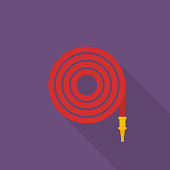 Fire hose icon with long shadow on purple background, flat design style