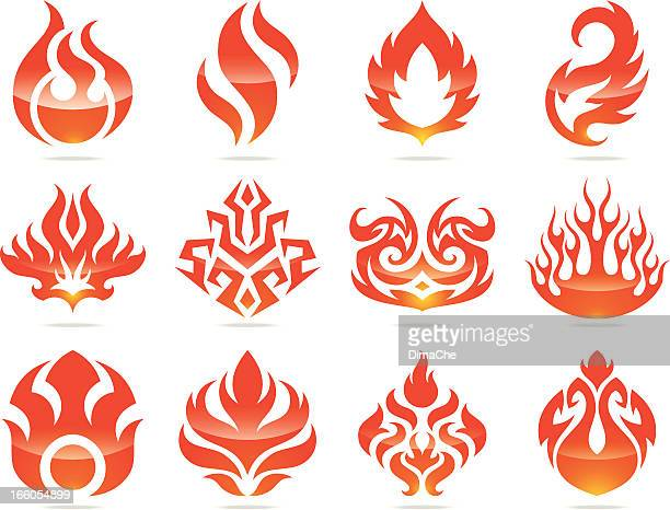 fire icons set - afterlife stock illustrations, clip art, cartoons, & icons