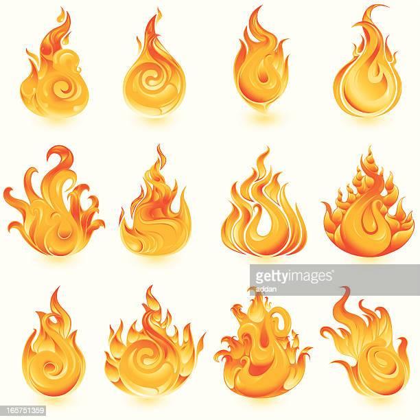 ilustraciones, imágenes clip art, dibujos animados e iconos de stock de iconos de incendios - llamas de fuego