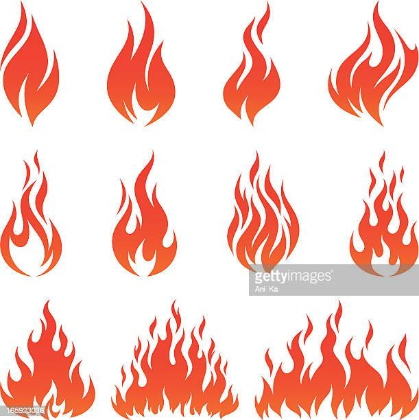fire icons - fire natural phenomenon stock illustrations, clip art, cartoons, & icons