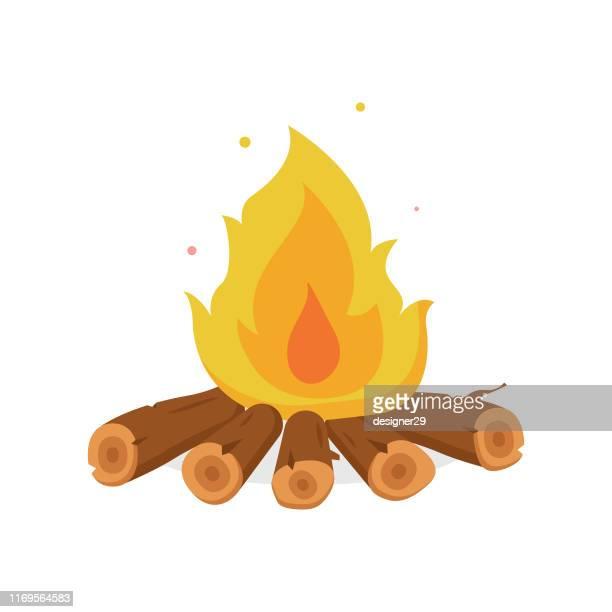 火のイラストと焚き火漫画スタイルフラットデザイン。 - キャンプファイヤー点のイラスト素材/クリップアート素材/マンガ素材/アイコン素材