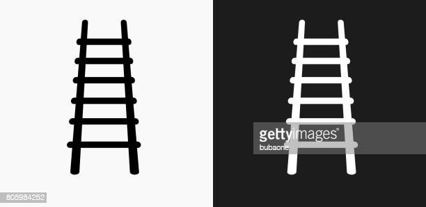 fire ladder icon on black and white vector backgrounds - ladder stock illustrations, clip art, cartoons, & icons
