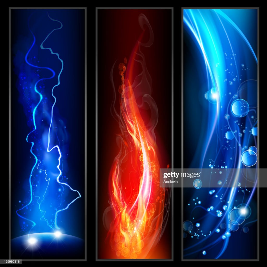 Fire, lightining and water : stock illustration