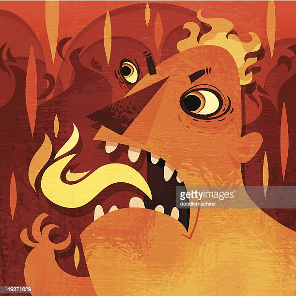 fire monster - lava stock illustrations, clip art, cartoons, & icons