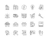 Fire protection line icons, signs, vector set, outline illustration concept