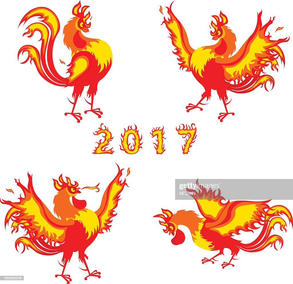 Fire Rooster Symbol Of 2017 On The Chinese Calendar Vector Vector
