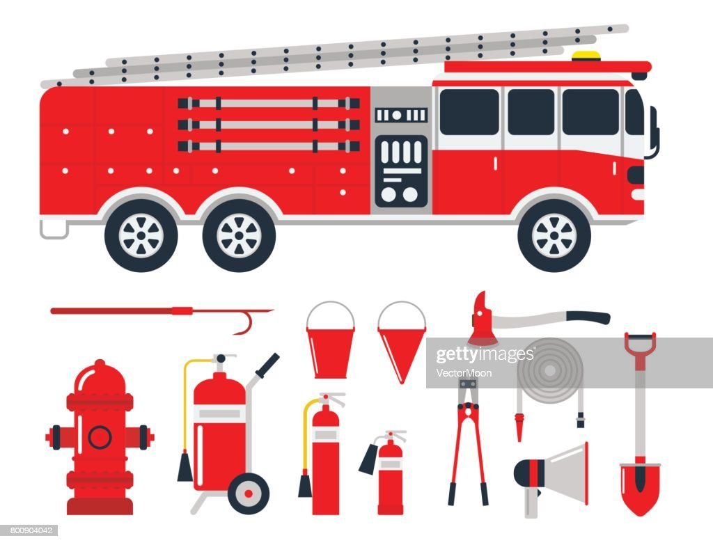 Fire safety equipment emergency tools firefighter safe danger accident protection vector illustration