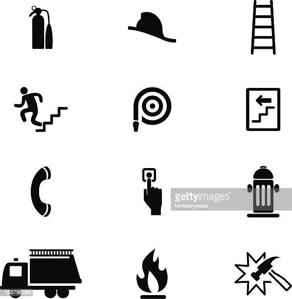 fire safety icon set - disembarking stock illustrations