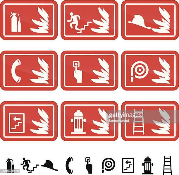 Icono de signo de seguridad contra incendios
