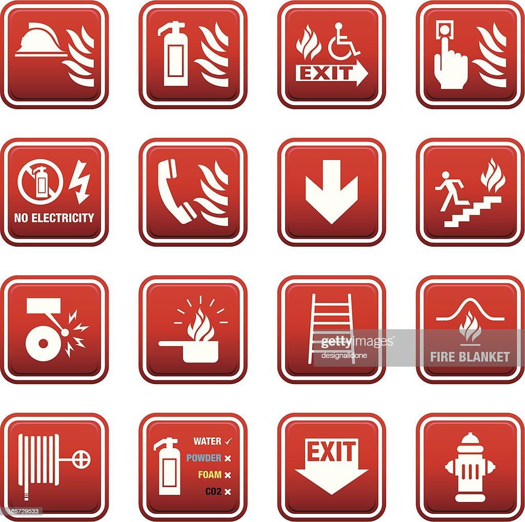 fire safety signs vector art getty images