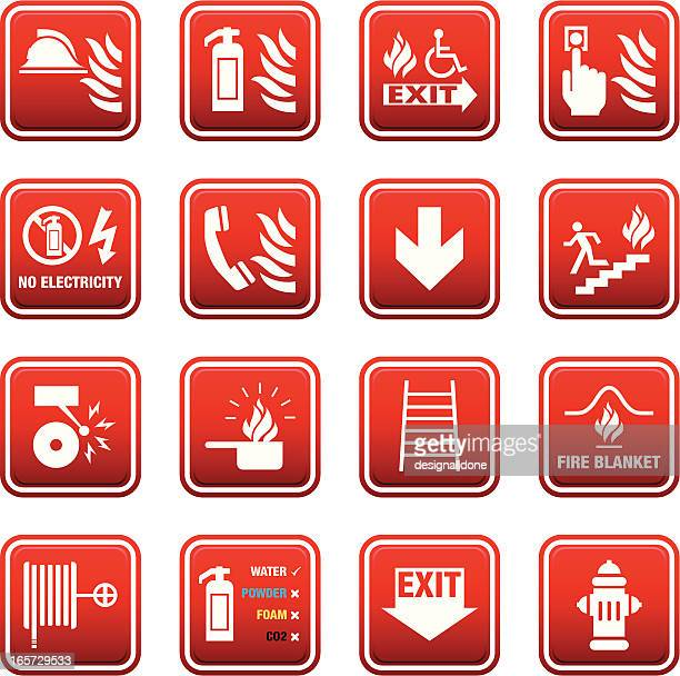 fire safety signs - fire natural phenomenon stock illustrations, clip art, cartoons, & icons