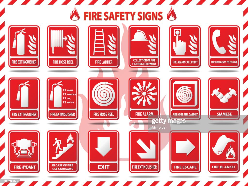 Fire Safety Signs : stock illustration