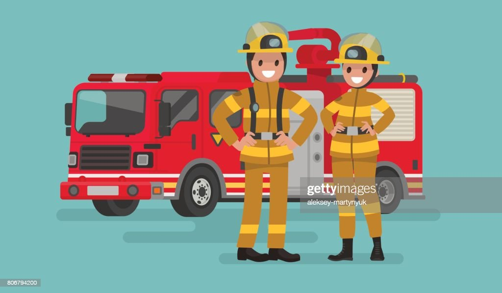 Fire service workers man and woman. Firefighters on the background of the service car