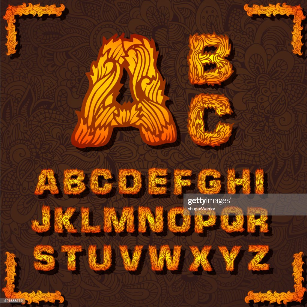 Fire set font alphabet text on a red background. Vector
