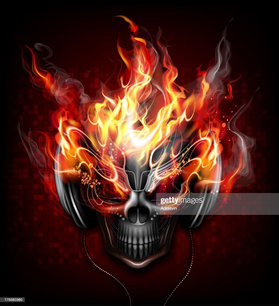 DJ fire skull : stock illustration