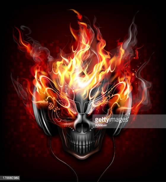 dj fire skull - flames stock illustrations, clip art, cartoons, & icons