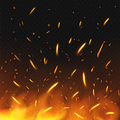 Fire sparks flying. Firestorm texture. Sparks charcoal. on transparent background. Vector illustration.