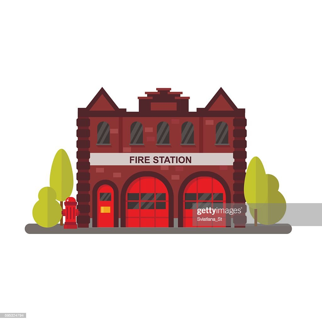 Fire station flat vector illustration.