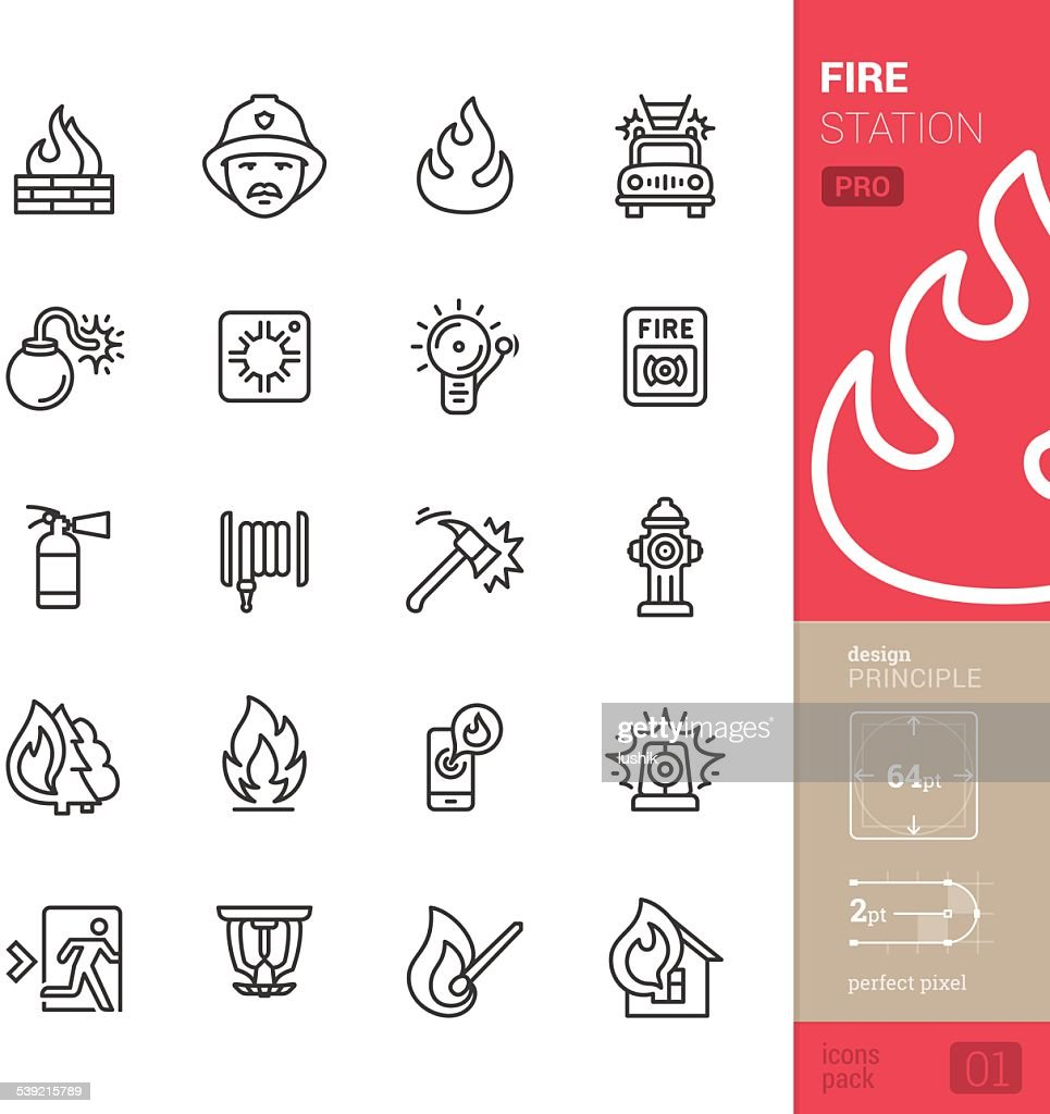 Fire station vector icons - PRO pack : stock illustration