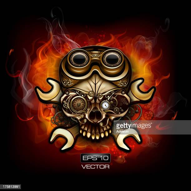 fire steampunk skull - flare stack stock illustrations, clip art, cartoons, & icons