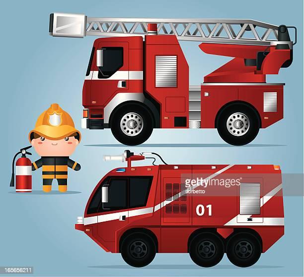 ilustrações de stock, clip art, desenhos animados e ícones de camião de bombeiros e fireman - carro de bombeiro