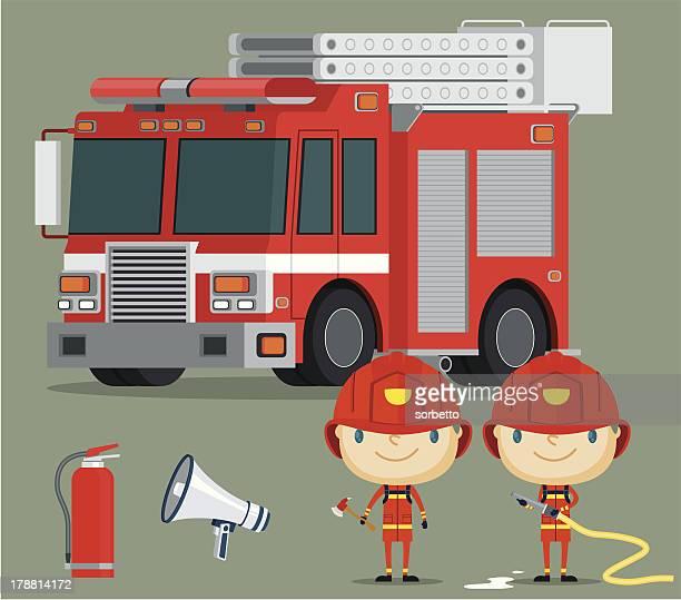 ilustrações de stock, clip art, desenhos animados e ícones de camião de bombeiros e fireman - corpo de bombeiros
