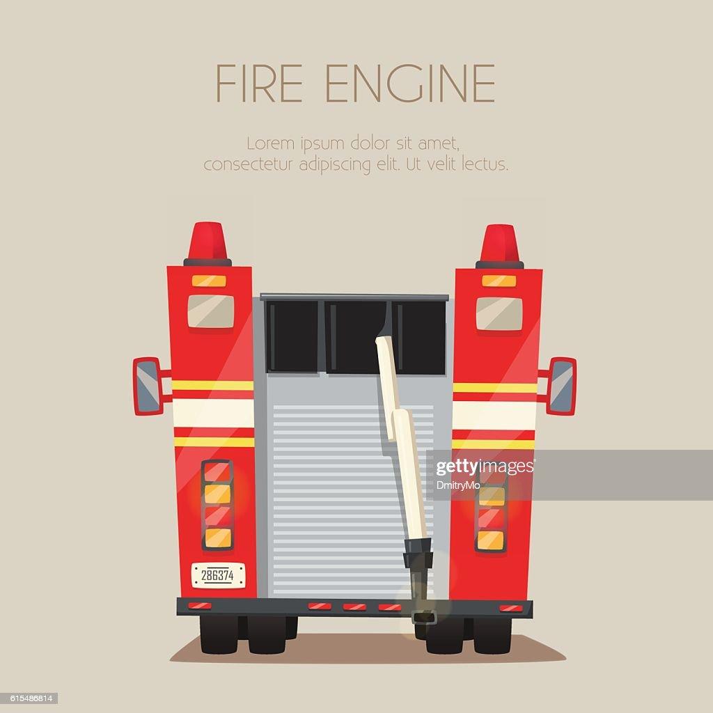 Fire truck. Vector cartoon illustration