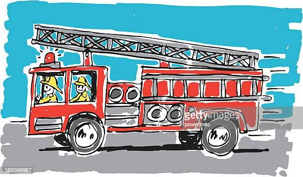 ilustrações de stock, clip art, desenhos animados e ícones de camião de bombeiros - carro de bombeiro
