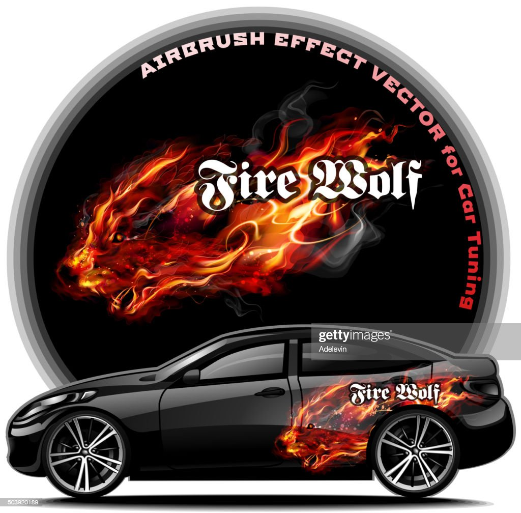 Fire Wolf Airbrush effect vector