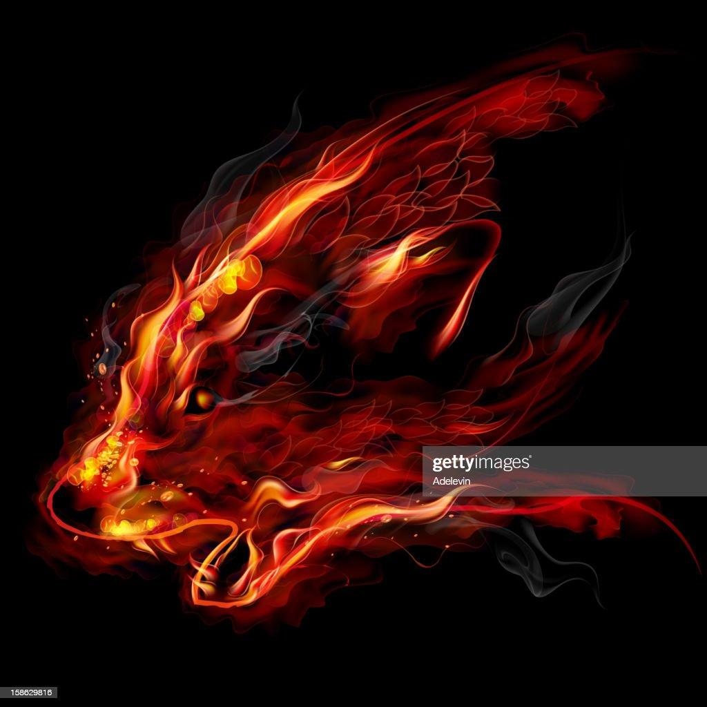 Fire wolf : stock illustration