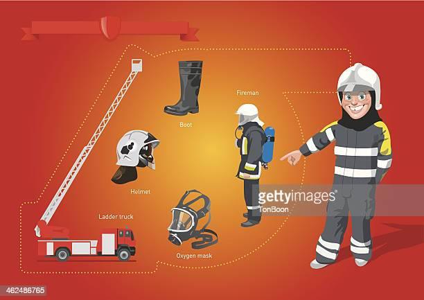 ilustrações de stock, clip art, desenhos animados e ícones de brigada de incêndio - corpo de bombeiros