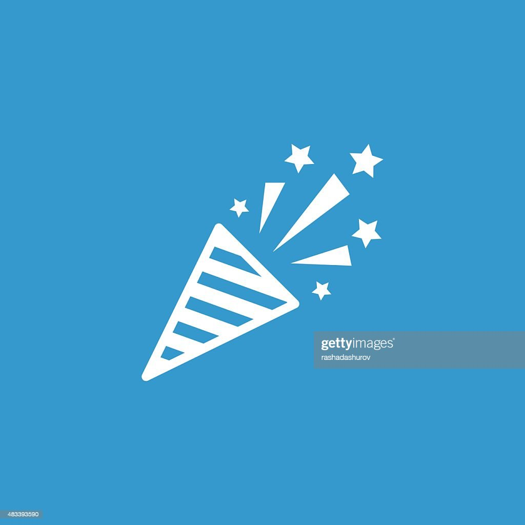firecracker icon, isolated, white on the blue background