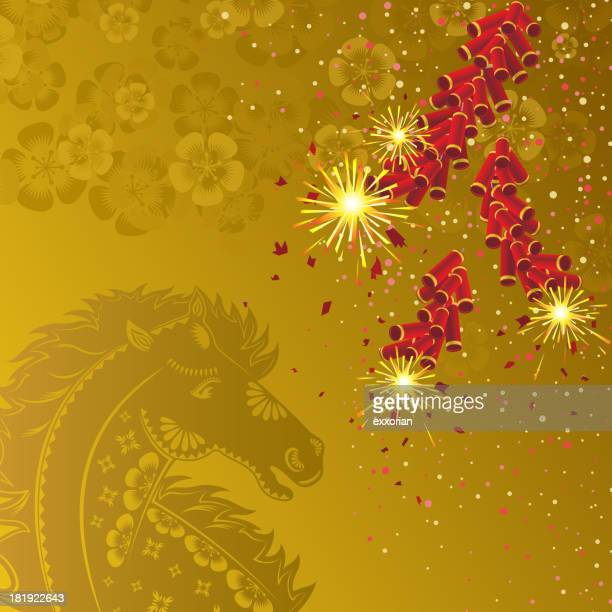 Firecracker in House and Floral Paper-cut Background