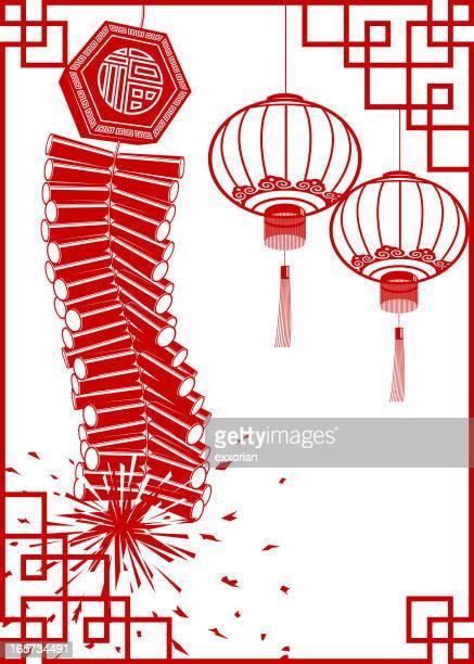 firecracker with lantern chinese paper-cut frame art - firework explosive material stock illustrations
