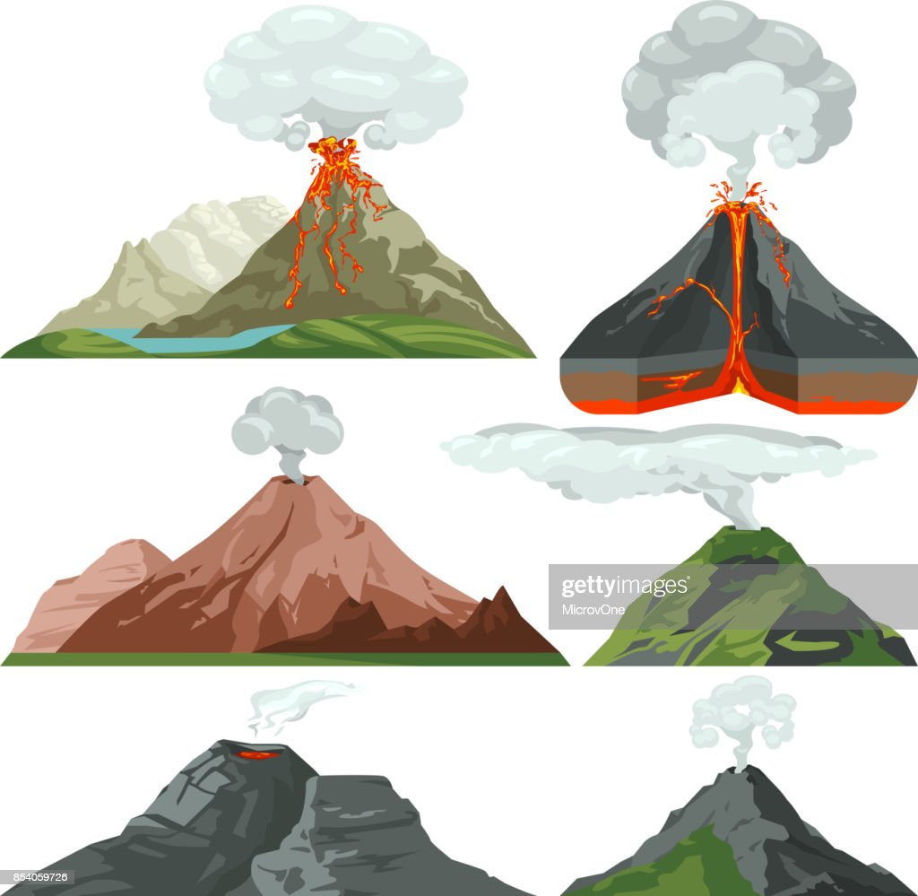 Fired up volcano mountains with magma and hot lava. Volcanic eruption with dust clouds vector set