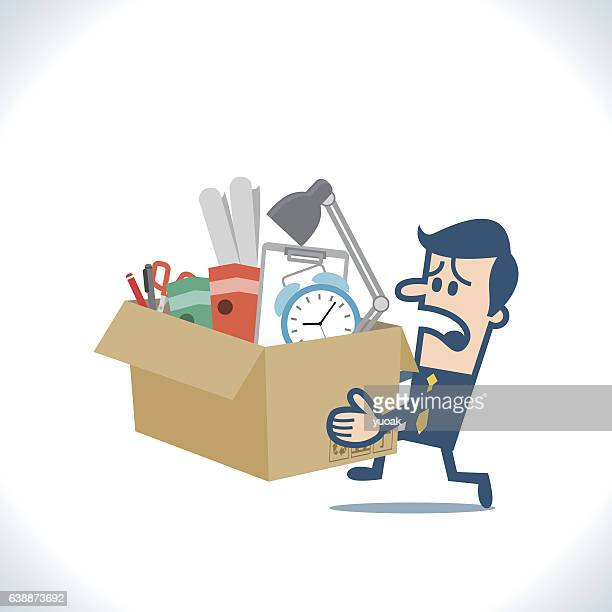 ilustraciones, imágenes clip art, dibujos animados e iconos de stock de fired worker is holding a box with personal belongings - downsizing unemployment