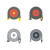 Firefight water hose service icon vector flat line silhouette colored