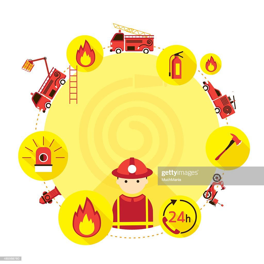 Firefighter and Equipment Icons Round Frame