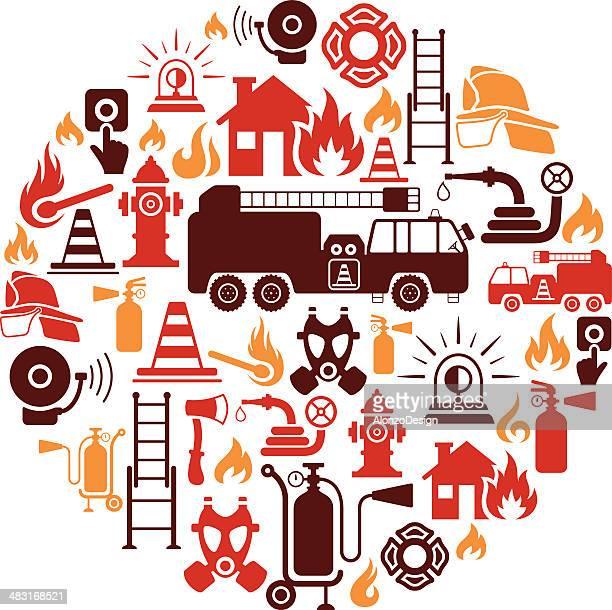ilustrações de stock, clip art, desenhos animados e ícones de bombeiro colagem - corpo de bombeiros