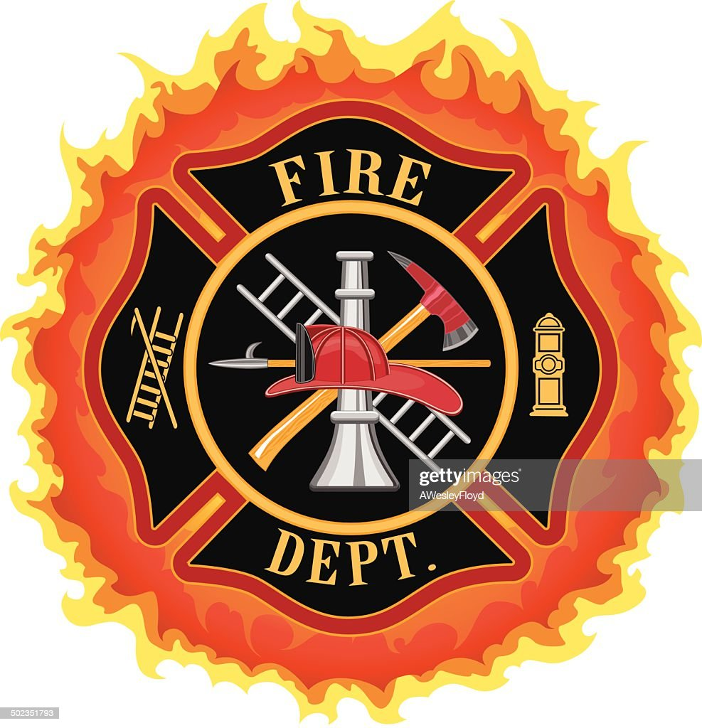 Firefighter Cross With Flames
