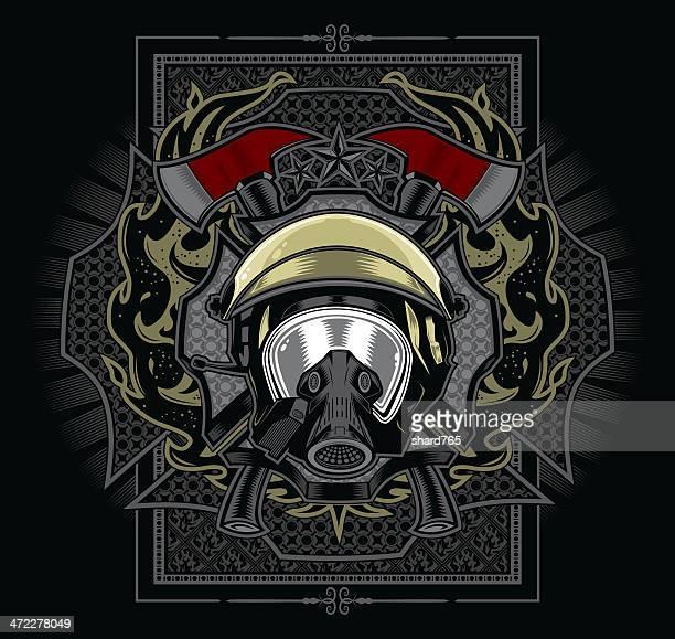 ilustrações de stock, clip art, desenhos animados e ícones de bombeiro emblema design - corpo de bombeiros