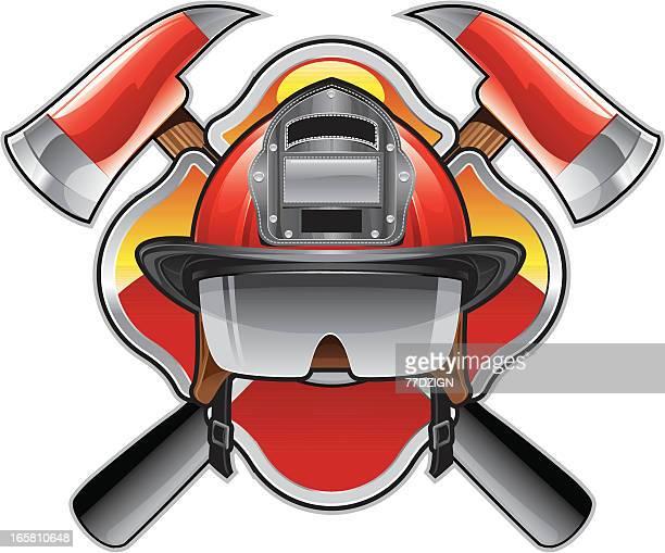 ilustrações de stock, clip art, desenhos animados e ícones de emblema de bombeiro - corpo de bombeiros