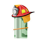 Firefighter hat on roll of money