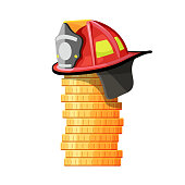 Firefighter hat on stack of coins