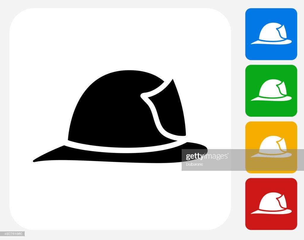 Firefighter Helmet Icon Flat Graphic Design