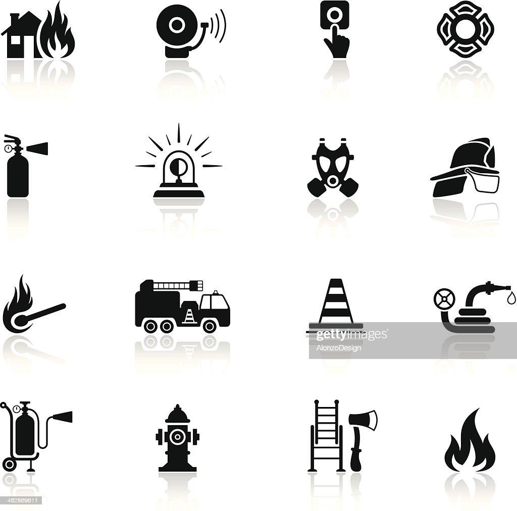 Firefighter Icon Set : stock illustration