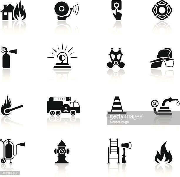 firefighter icon set - fire natural phenomenon stock illustrations, clip art, cartoons, & icons