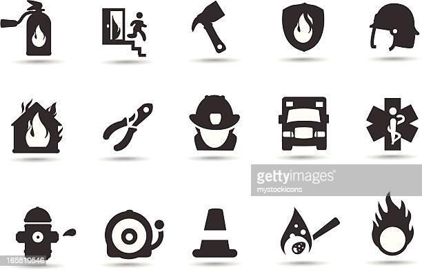 ilustrações de stock, clip art, desenhos animados e ícones de ícones de bombeiro - corpo de bombeiros