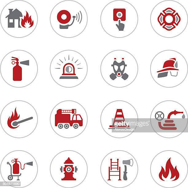 firefighter icons - fire natural phenomenon stock illustrations, clip art, cartoons, & icons